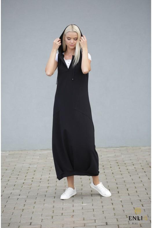 Ilga juoda suknelė su kišenėmis | Sarafanas HELEN
