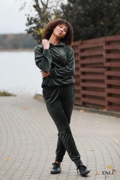 Veliūrinės, chaki spalvos kelnės HENRIKA