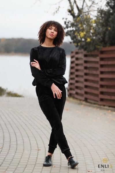 Veliūrinės, juodos spalvos kelnės HENRIKA