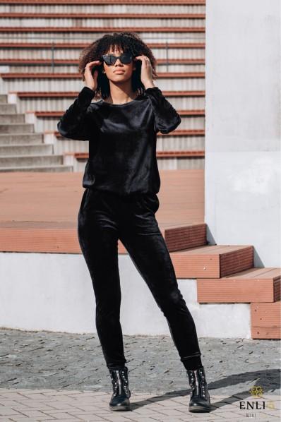 Veliūrinis, juodos spalvos kostiumas HENRIKA