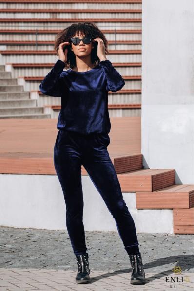 Veliūrinis, tamsiai mėlynos spalvos kostiumas HENRIKA