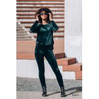 Veliūrinis, smaragdinės spalvos kostiumas HENRIKA
