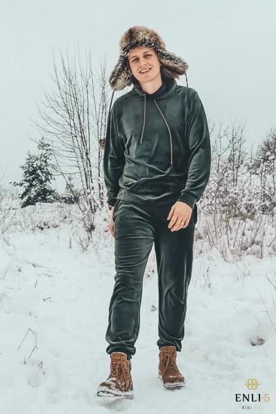 Vyriškas, chaki spalvos veliūrinis kostiumas HERMIS