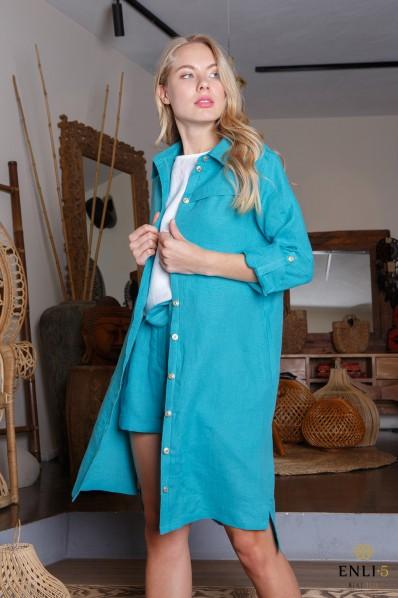 Ilgi lininiai marškiniai | Mėlyna lininė suknelė