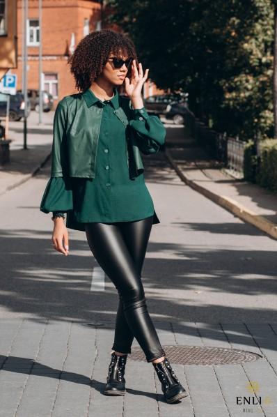 Tamsiai žali marškiniai INDRA | su odiniu švarkeliu