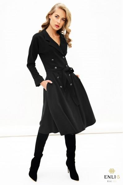 Juoda, ilga, švarko tipo suknelė ELADA