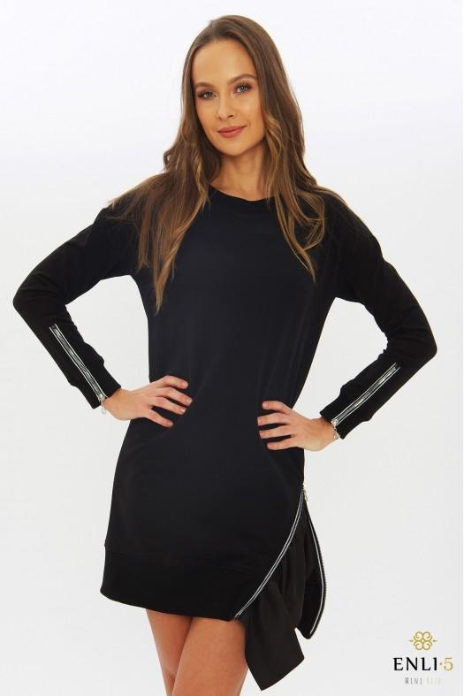 Juoda tunika | Suknelė su užtrauktuku EVITA