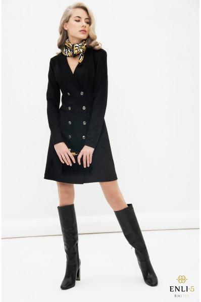 Juodos spalvos zomšinė suknelė | Elegantiška suknelė VAKARĖ
