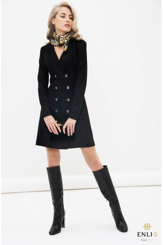 Juodos spalvos zomšinė suknelė   Elegantiška suknelė VAKARĖ
