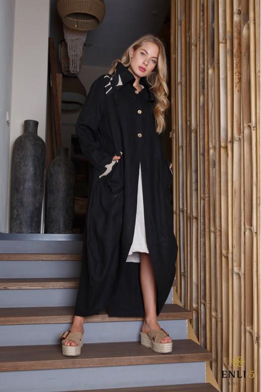 Juodas lininis paltas | Juodo lino paltas