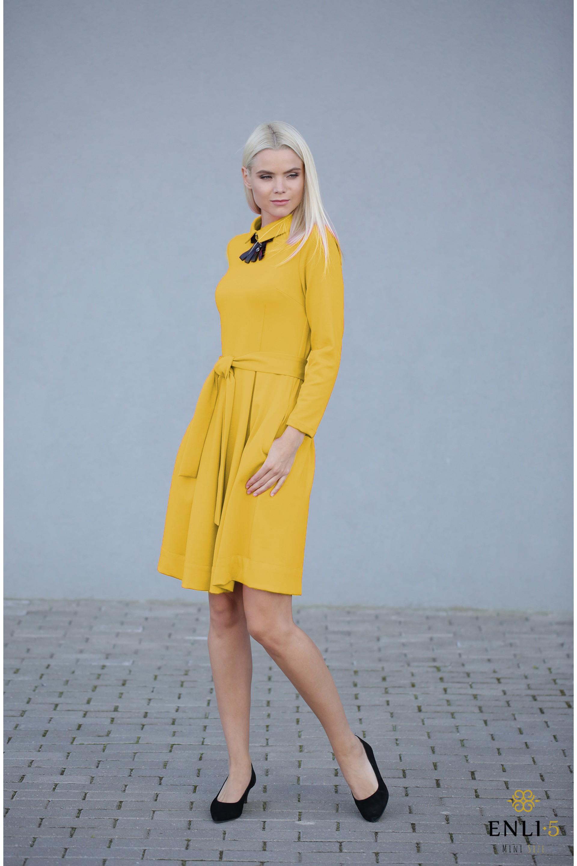 Geltona klasikinė suknelė KAMĖJA