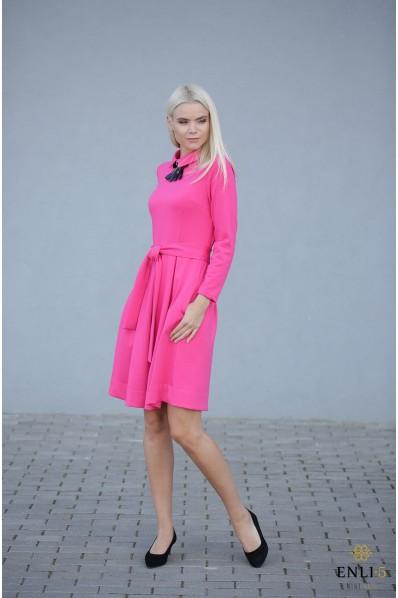 Klostuota rožinė suknelė su kišenėmis KAMĖJA