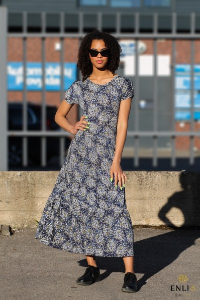 Tamsiai mėlyna gėlėta suknelė KAROLINA