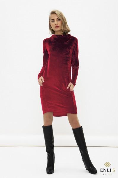 Bordo, ypatingo veliūro suknelė