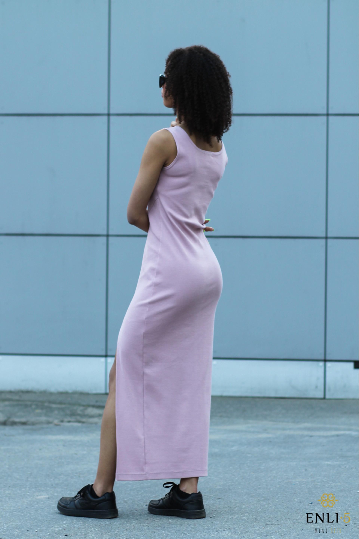 Prigesinta rožinė ilga suknelė KRISTINA