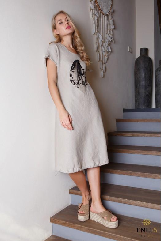 Natūralios lino spalvos lininė suknelė su piešiniu KVADRATAS