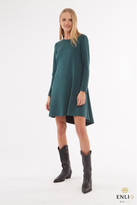 Žalia angoros vilnos suknelė su klostėmis LAUMŽIRGIS
