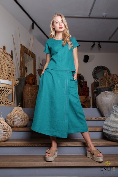 Smaragdinės spalvos kostiumėlis | Sijonkelnės | Palaidinė
