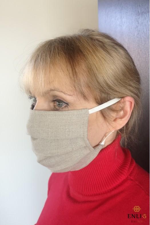 Lininė vienguba apsaugine kaukė (be kišenės)