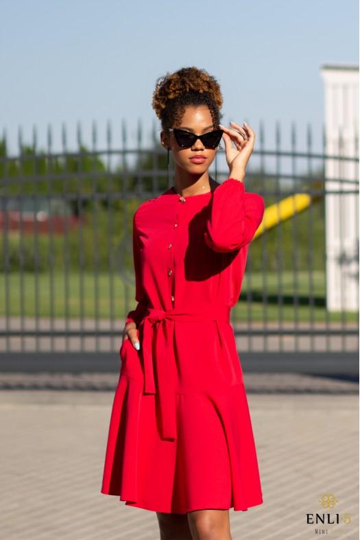 Raudonos spalvos suknelė su volanu LOLA