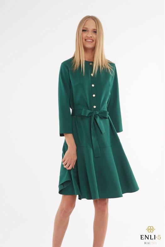 Žalios spalvos suknelė su volanu LOLA