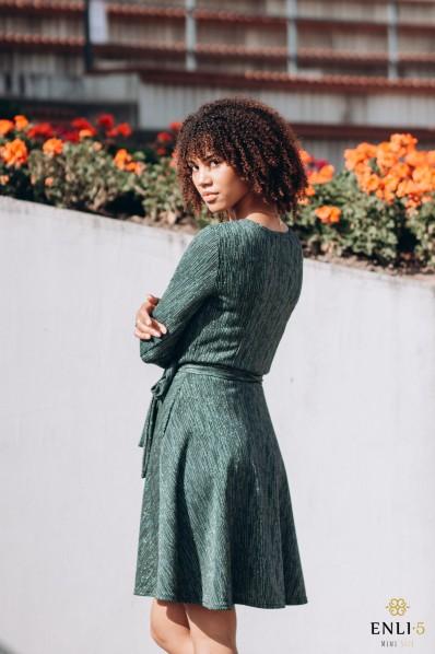 Blizgi, žalia kliošinė suknelė su kišenėmis LORENA