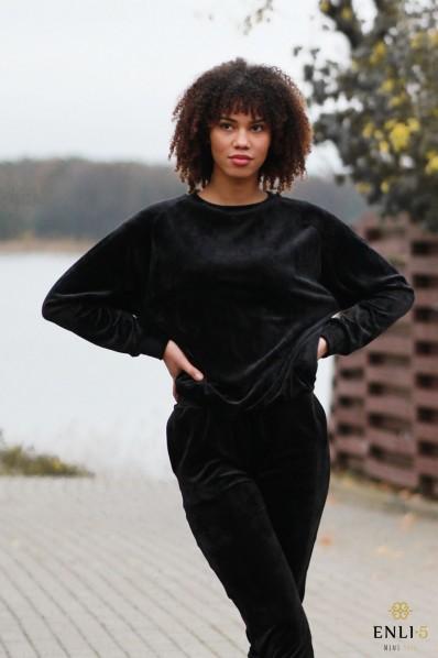 Juodas veliūrinis džemperis LULU