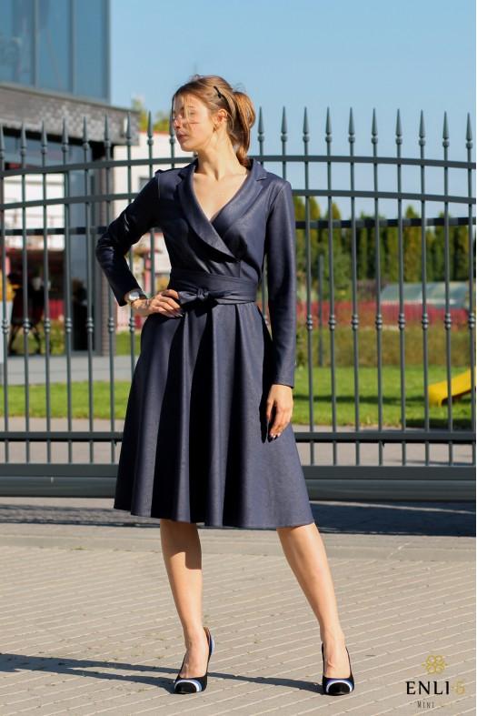 Mėlyna, imitacinės odos suknelė MADONA