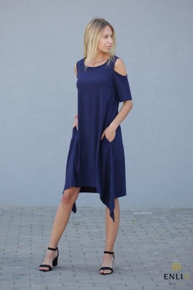 Tamsiai mėlyna suknelė su kišenėmis MEGAN