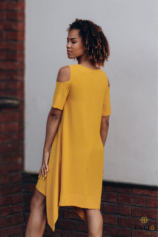 Vasarinė gelsva, stilinga suknelė MEGAN