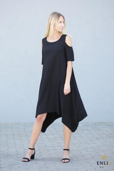Juoda, stilinga, vasariška suknelė MEGAN