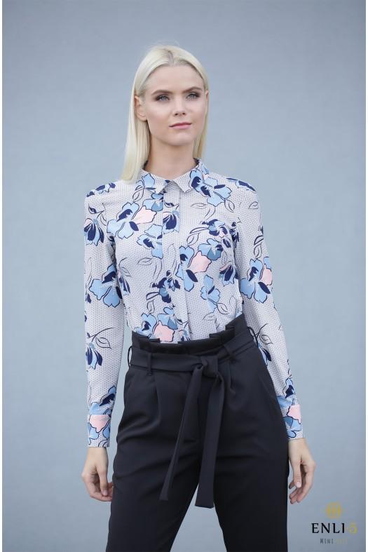 Gėlėta palaidinė - marškiniai MELSVOS GĖLĖS
