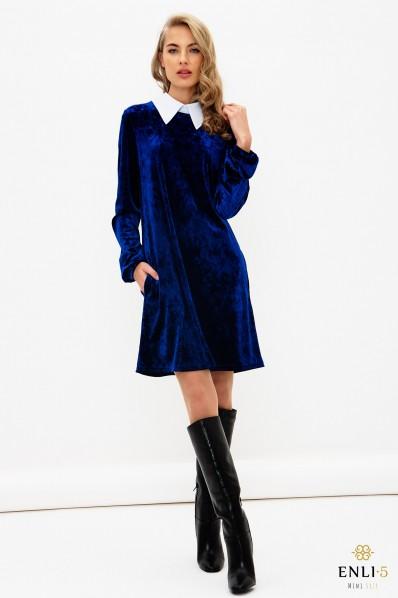 Mėlyna, aksominė suknelė su apykakle LIUSI