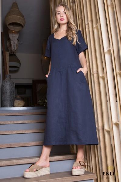 Boho stiliaus plati lininė suknelė | Tamsiai mėlyna suknelė