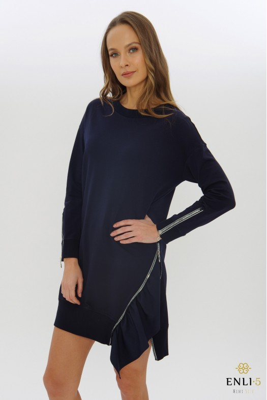 Mėlyna tunika | Suknelė su užtrauktuku EVITA