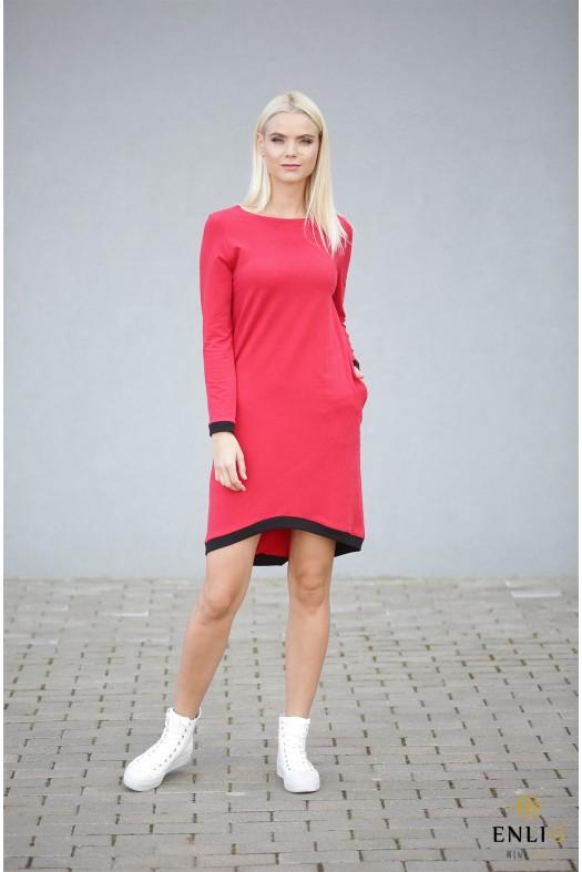 Raudona suknelė ilgomis rankovėmis MIRANDA