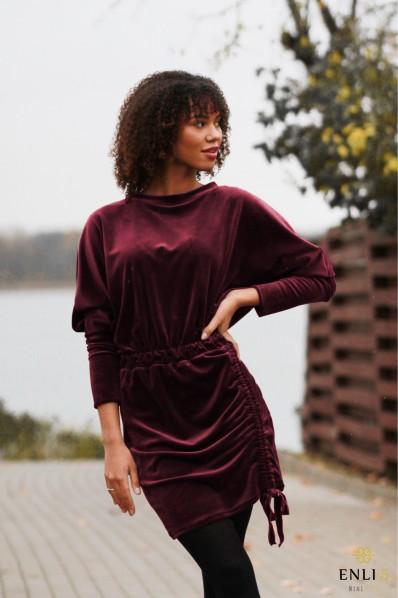 Burgundiško vyno spalvos veliūrinė suknelė MISTIKA