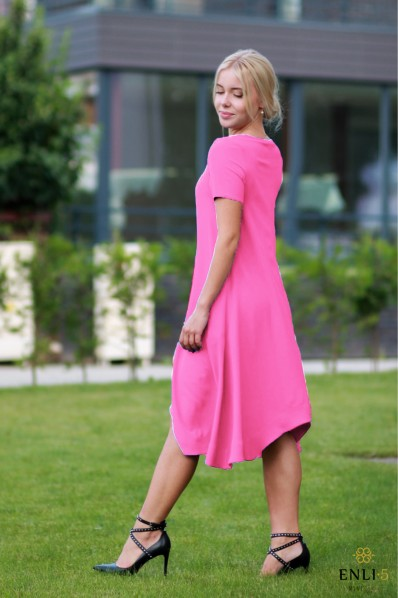 Ciklameninės spalvos suknelė PARYŽIETĖ