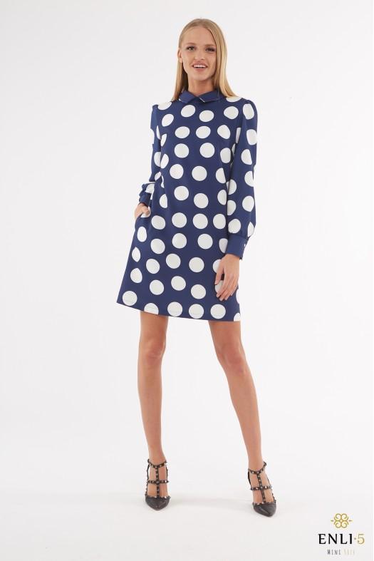 Mėlyna suknelė su baltais burbulais PAULA