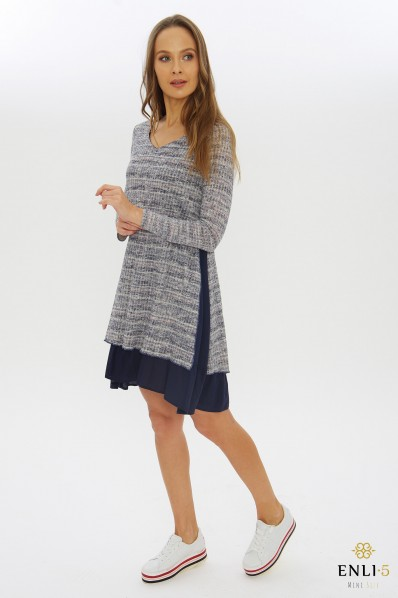 Pilka, mėlyna suknelė - tunika EMA