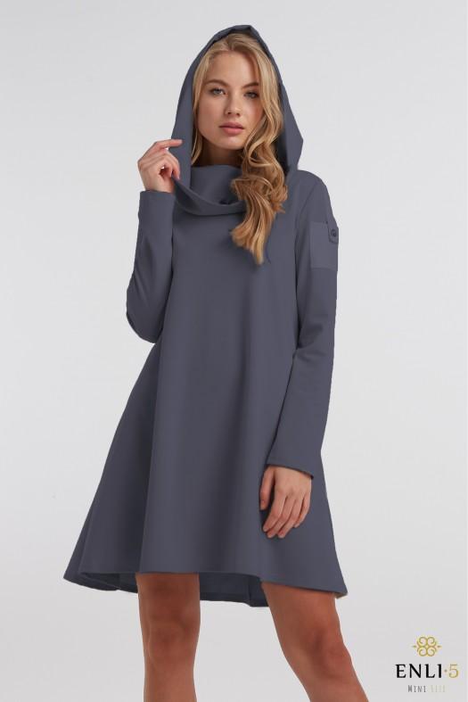 Pilkai mėlyna, trumpa suknelė su kapišonu
