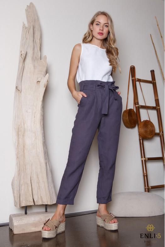 Pilkai mėlynos lininės kelnės | Kelnės su raukiniu