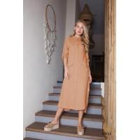 Ruda lininė suknelė | Lininė suknelė SAFARIS