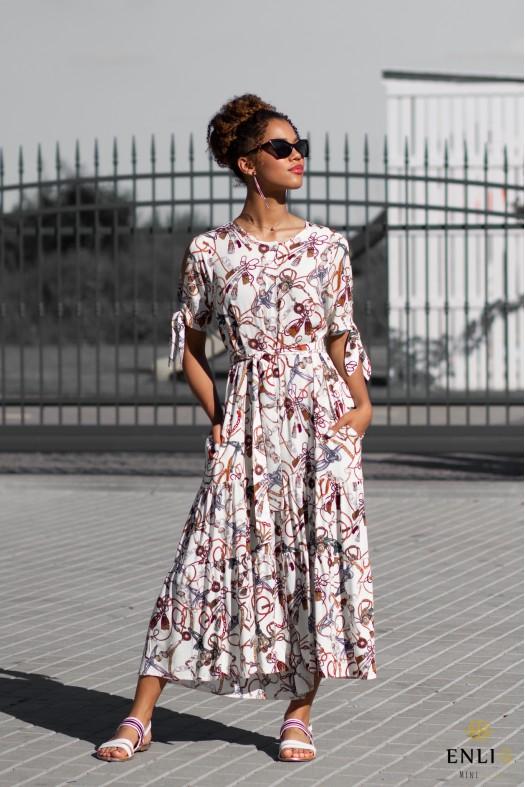 Vasarinė smėlio spalvos marga suknelė SANDY