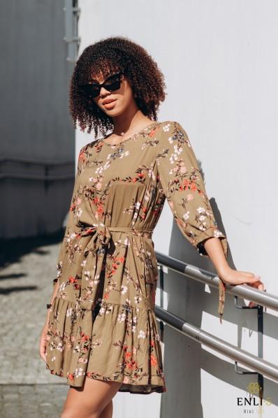 Chaki spalvos, gėlėta suknelė SHEILA
