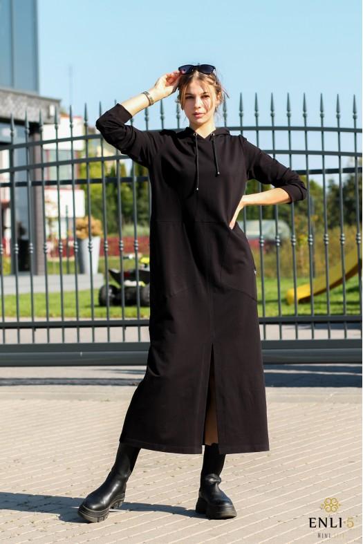 Ilga juodos spalvos suknelė su kapišonu SONATA
