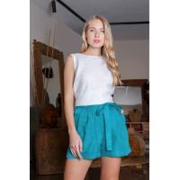 Mėtinės spalvos lininiai šortai | Moteriški šortai