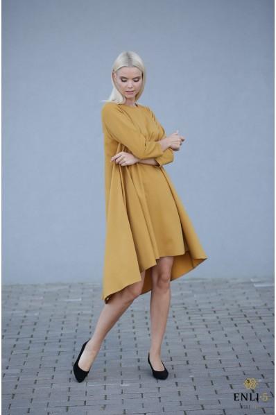 Garstyčių spalvos platėjanti suknelė SVAJA