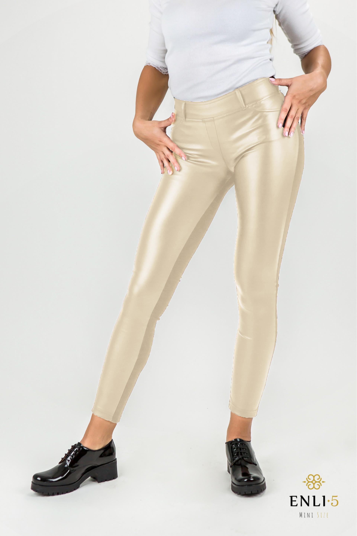 Šviesios odinės kelnės | Oda dekoruotos tamprės