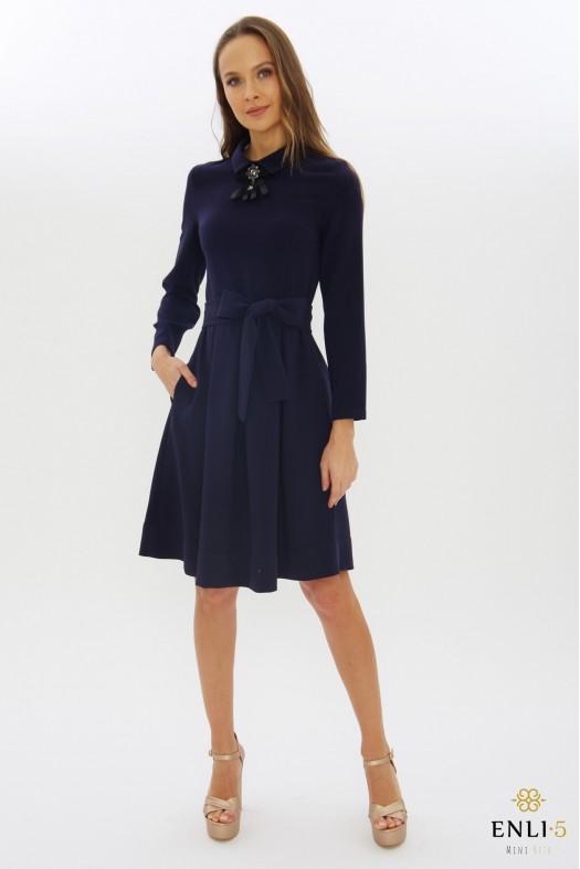 Tamsiai mėlyna klasikinė suknelė KAMĖJA